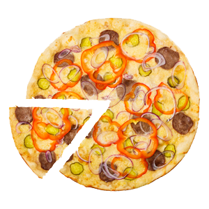 Isolated pizza with slice